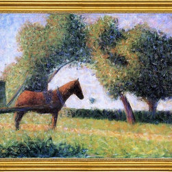 """Georges Seurat-16""""x20"""" Framed Canvas - 16"""" x 20"""" Georges Seurat Horse and Cart framed premium canvas print reproduced to meet museum quality standards. Our museum quality canvas prints are produced using high-precision print technology for a more accurate reproduction printed on high quality canvas with fade-resistant, archival inks. Our progressive business model allows us to offer works of art to you at the best wholesale pricing, significantly less than art gallery prices, affordable to all. This artwork is hand stretched onto wooden stretcher bars, then mounted into our 3"""" wide gold finish frame with black panel by one of our expert framers. Our framed canvas print comes with hardware, ready to hang on your wall.  We present a comprehensive collection of exceptional canvas art reproductions by Georges Seurat."""