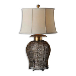 Uttermost - Rickma Woven Metal Table Lamp - Antiqued gold leaf finish on a woven metal base with black undertones. The round semi bell shade is an ivory linen textile with natural slubbing.