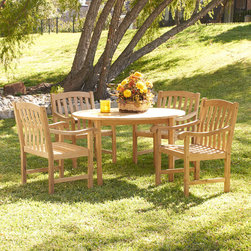 Upton Home - Upton Home Barringer Teak Outdoor Dining Table 5-piece Set - Complete with a round table and four sturdy chairs this set is just the right size for a patio. Since the wood is constructed of solid teakwood that is both water and weather resistant the set will remain structurally sound for many years to come.