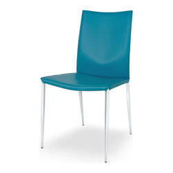EuroModern - Designer Leather Dining Chair in Turquoise (Set of 2) - Leather Dining Chair in Turquoise with its modish design, will exemplify the decor of the room with a touch of extravagance. The side chair is upholstered in leather. The frame of the side chair is enameled with a rich chrome finish. Engineered using metal, its sturdy construction ensures years of durability and utility. A high back design, the side chair is designed to offer a relaxing seating experience. The Designer Leather Dining Chair in Turquoise  will complement homes with modern interiors. It can be placed in the kitchen or the dining room.