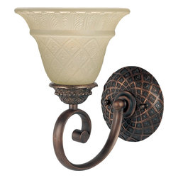 Maxim Lighting - Maxim Lighting Brighton Traditional Wall Sconce X-IOVE18111 - Simply elegant in every way the Maxim Lighting Brighton Traditional Wall Sconce will make a gorgeous addition to any space. The focus of this wall sconce is the Embossed Vanilla shade that boasts a delicate leaf motif around the rim of the shade. The diamond cut pattern has dainty flowers embedded inside every diamond. The Oil Rubbed Bronze hardware has an intricate backplate that is sure to shine in your home.