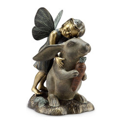 "SPI - Happiness Fairy and Rabbit Garden Sculpture - -Size: 14"" H x 10.5"" W x 8"" D"