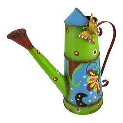 Colorful Hand Painted Decorative Watering Can with Butterfly - This colorful watering can adds a whimsical accent to plant stands, gardens, flower beds, or your porch or patio. Made of metal, it measures 13 inches tall, 13 1/2 inches long, and 6 inches wide. It is hand painted, and has a butterfly accent at the top. This cheerful accent looks great inside your home, as well, and makes a lovely gift for a friend.