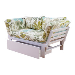 Kodiak Furniture - Elite White Futon Lounger in English Garden, Futon Set with Drawer - This futon lounger will fill your room with the feeling of a blooming garden! The futon set consist of solid wood frame, mattress, tufted cover in English Garden finish and pillows. This futon can be used in three positions: guest bed, sofa and lounger. The futon frame is made of high quality solid wood. You can add a matching drawers.