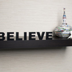 Danya B - Laminate 'Believe' Inspirational Wall Mount Shelf - Show off your favorite collectibles and knick-knacks when you use this simple wall mount shelf. It is laminated for added shine, and this espresso-finished shelf has no visible hanging hardware, which makes it appear to be floating in midair.