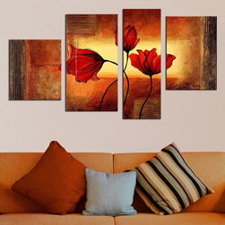 Modern Red Flowers Hand-painted Oil on Canvas 4-piece Painting -