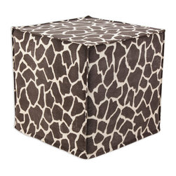 """Chooty - Chooty Giraffe Bitter Simply Soft Collection 17"""" Square Seamed Foam Ottoman - Insert 100 High Density Foam, Fabric Content 65 Poly 35 Cotton, Color Brown, Tan , Hassock 1"""