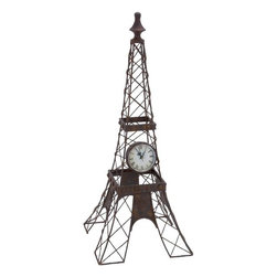 "Benzara - Metal Clock Mounted On An Iron Structure - METAL CLOCK is mounted on an iron structure designed like Eiffel Tower. It can be placed anywhere in any room.; Material: Rust free premium grade metal alloy; Color: Black; Quartz wall clock; class apart wall decoration; Long lasting; Impresses everyone; Affordable gift; Dimensions: 25""H x 10""W"