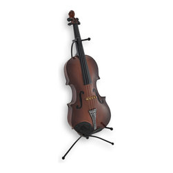 Zeckos - Classical Violin Statue Coin Bank with Stand - Do you play or just love violins? This is a must-have piece for any musician or instrument admirer It's just as elegant and sophisticated as an accent piece as it is helpful for saving coins and even dollars in. This bank measures 14 inches tall, 5 inches wide and 2 inches deep. With the stand it measures 16 1/2 inches tall, 6 3/4 inches wide and 8 inches deep. It is carefully crafted of polyresin and hand painted in wonderful detail that looks just like wood. It is treated with a clear coat to give it a smooth, glossy finish. It is an artistic addition to an office, a music room or your favorite gathering space. It is easy to empty via the silicone plug in the bottom. Hear the sweet sounds of saving as you drop in your loose change. This amazing statue coin bank would make a very welcomed gift, as well.