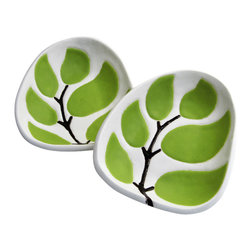 "Hope Johnson Ceramics - Set Of 2 Ceramic Dipping Dishes - Leaves in Chartreuse Green - This listing is for a SET of 2 dipping dishes. They each measure approx. 1"" tall, 4"" long, 3.5"" wide."