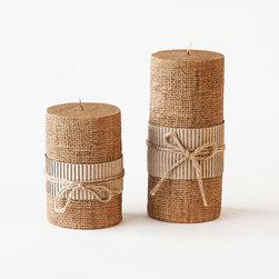 Country Western Candles - Set of 2 - Give your mood lighting a much-needed makeover with this set of burlap candles. The ridged center adds a bit of extra charm and texture, as does the cute bow.