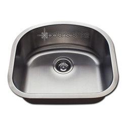 Polaris - Polaris P812 Undermount Single D-Bowl Stainless Steel Kitchen Sink - Polaris Undermount Single D-Bowl Stainless Steel Kitchen Sink