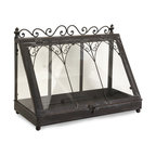 Vintage French Tabletop Terrarium - *Traditional tabletop Terrarium in wrought iron with clear glass.