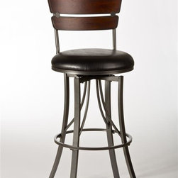 Hillsdale Furniture - Swivel Stool (30 in. Bar Height) - Choose Size: 30 in. Bar HeightReminiscent of elementary school desk chairsDistressed cherry woodTwo-paneled backBlack faux leather seat. 17 in. W x 20 in. D x 40 in. H (21 lbs.)A modern take on an old schoolroom classic, the Santa Monica Stool is reminiscent of elementary school desk chairs, with a few grown-up twists. Constructed of distressed cherry wood, the two-paneled back is accented by a sophisticated faux black leather seat covering. Long, narrow, pewter-finished legs taper elegantly to the ground beneath the 360 degree swivel seat Some assembly required.