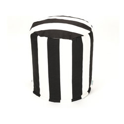 Majestic Home - Outdoor Black Vertical Stripe Small Pouf - Add comfort and flare to any room with Majestic Home Goods Indoor/Outdoor Small Pouf Ottomans. These small poufs can be used as a foot stool, side table or as extra seating in your home or backyard. The beanbag inserts are eco-friendly by using up to 50% recycled polystyrene beads. The removable zippered slipcovers are woven from Outdoor Treated polyester with up to 1000 hours of U.V. protection, and are machine-washable.