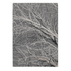 """MAT Orange Branch Grey Rug - 5'2""""x7'6"""" - The rugs in this collection are all inspired by urban lanandscapes, making way for a statement where texture, shape, and line are the form. The rug's texture and the marriage of colors speak to the contemporary room. """"It is the art piece on the floor.  Because of the artistic quality ofThe rugs they are easily used in modern as well as traditional interiors. Pile Height:0. 5 Inches"""