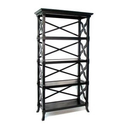 Wayborn - Charter Book Stand w 4 Shelves in Black - Made from wood. 32 in. W x 14 in. D x 60 in. H (43 lbs.)