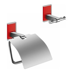 Gedy - Red And Chrome Toilet Roll Holder And Robe Hook Accessory Set - .