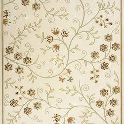 Momeni - Momeni Capri Floral Ivory 2' x 3' Rug by RugLots - Soft florals in a muted color palette accent this power-loomed collection. Made of 100% wool, Capri features hand-carving and hand-surged edges.