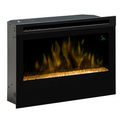 "Dimplex 25-In Contemporary Plug-In Electric Fireplace Insert - DF2524G - The Dimplex 25-In Contemporary Plug-In Electric Fireplace Insert - DF2524G is the perfect solution for anyone looking to add a modern flare to their room. This ""high fashion"" fireplace insert features life-like LED flame effects and a reflective, crushed glass ember bed that together create a truly hypnotic, peaceful appearance. The unit plugs into any standard 120V wall outlet and has a simple installation process - you'll be enjoying your new fireplace in no time at all. This contemporary insert includes a powerful fan-forced heater designed to keep the room you are in warm and comfortable by providing supplemental heat for up to 400 Sq. Ft. This lets you reduce the temperature of your main heat source, and prevents overheating the rooms you aren't using, saving energy and money. Setting the desired temperature for your room is a breeze using the included multi-function remote control and is indicated on the onscreen digital display. The unit and glass front stay cool to the touch so its safe for use around pets and children. The Dimplex 25-In Contemporary Plug-in Electric Fireplace Insert is a great option for anyone looking to add a contemporary focal point to their family room, dinging room or bedroom. Dimensions: 26'' W x 18.625'' H x 7.5'' D"