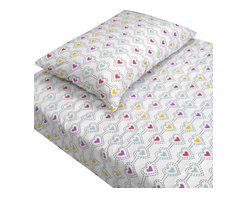 Store51 LLC - Stencil Hearts Love Bedding Twin Bed Sheet Set - Features: