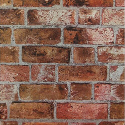 York - Brick Faux Texture Wallpaper - HE1046 Brick from Modern Rustic by York is a rust and grey faux brick texture wallpaper.  Modern Rustic is a collection of unpasted , solid vinyl wallpapers.