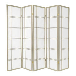 Oriental Furniture - 6 ft. Tall Double Cross Shoji Screen - Special Edition, Grey, 5 Panel - A traditional building material in Japan, Shoji rice paper is renowned for its ability to offer privacy without completely blocking ambient light. Set in a stylish Scandinavian spruce frame, this screen will make a striking accent to any room's decor.