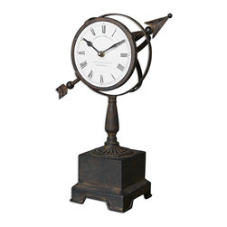 Uttermost - Rustic Armillary Clock - This celestially inspired clock brings timeless appeal to your decor. Crafted of hand-forged metal, it features a strong pedestal base, arrow detail and an appealing rusted finish to accent your favorite traditional setting.