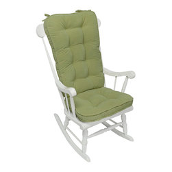 None - Moss Microfiber Reversible Rocking Chair Jumbo-size Cushion Set - This fully reversible cushion set features a boxed,corded edge trim and four circle tack design.  Both cushions are fully tufted and have attached string ties.