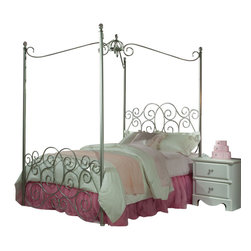 Standard Furniture - Standard Furniture Princess 5-Piece Kids' Canopy Bedroom Set in Silver Metal - Every little girl will be a princess with our frilly metal canopy princess bed as the focal point of her bedroom.