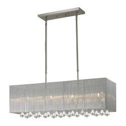 Z-Lite - Z-Lite 892-34S Brushed Nickel Aura 4 Light Chandelier with Silver Shade - The Aura family of linear shaded fixtures feature a stunning double line of multi faceted pyramid crystal. This fixture features a silver string shade. In all cases the fixtures are finished with brushed nickel.