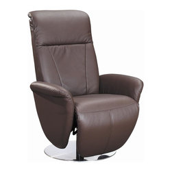 White Line Imports - Swivel Recliner in Brown - Wipe clean with a dry cloth. Manual relax function and manual headrest function. Flat base. Made from leather. No assembly required. 34 in. W x 30 in. D x 43 in. H (71 lbs.)