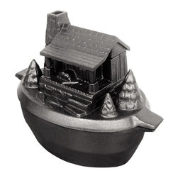 John Wright - Porcelain-Coated Cast Iron Log Cabin Steamer - Pay homage to the pioneers with this cast-iron log cabin steamer, designed to add moisture to the air in your home. Or use your favorite potpourri to scent the room air.