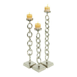 ecWorld - Essence Chain Design Pillar Candle Holders - Set of 3 - Add style and personality to your home with these unique chain design pillar candle holders. Sure to add ambiance to any room decor. They make a great house warming gift for that special friend or neighbor - or simply a wonderful classic, yet stylish, home decor addition for your own home!