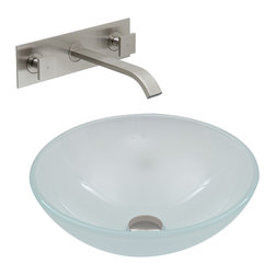 VIGO Industries - VIGO White Frost Vessel Sink and Wall Mount Faucet Set, Brushed Nickel - This VIGO White Frost glass vessel sink with Brushed Nickel wall mount faucet set is a contemporary addition to your home.