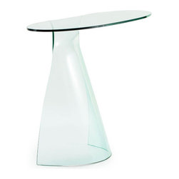 Sideswept Console Table - Make a statement with this unique Sideswept End Table. Made with elegant tempered glass and featuring a subtle curved shape, this table adds visual interest and modern style to your living room—or anywhere else you're looking to create functional space.