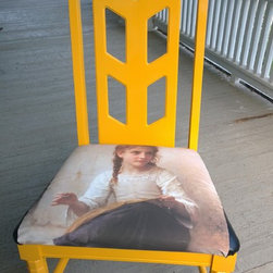 """Fiesta Collection - Masters Reworked. William Bouguereau painting """"Sewing"""" from 1898 on chair.  Chair has lamp finial in place of the chair finial that was missing."""