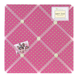 Sweet Jojo Designs - Jungle Friends Fabric Memo Board - The Jungle Friends Fabric Memo Board with button detail is a great way to display photos, notes, and postcards on your child's wall. Just slip your mementos behind the grosgrain ribbon to create an engaging piece of original wall art. This adorable memo board by Sweet Jojo Designs is the perfect accessory for the matching children's bedding set.