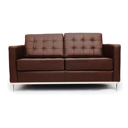 IFN Modern - Florence Knoll Style Loveseat-Chocolate - 100% Italian Leather - Florence Knoll, an acclaimed architect and designer, first conceived this beautiful chair in 1956. Knoll's philosophy for furniture design comes from the value that she placed on practicality and aesthetic beauty. The pieces resulting from her philosophical vision are considered to be minimalistically beautiful without compromising on durability and comfort. Knoll was also known to study and collaborate with renowned architect and designer Mies Van Der Rohe, this collaboration also lended a hand in her highly sought after artistic vision. The classic trio was designed by Knoll using a durable stainless steel frame with minimal materials. The chair features beautiful cubic cushions complimented with compressed buttons in a functional layout which provides both style and comfort to the thin, minimalist supporting arms. The Knoll Sofa, Loveseat, and Chair are becoming more and more highly desired as their minimal yet practical design can adapt perfectly into today's modern home or space.