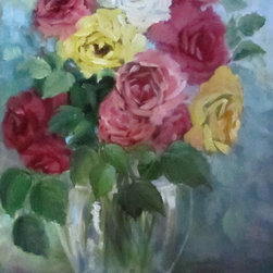 Still Life Oil Painting of Bouquet of Mixed Roses - This painting features pink,yellow,white and hot pink roses in a clear vase. It sparkles with an energetic background of blues and blue grays.