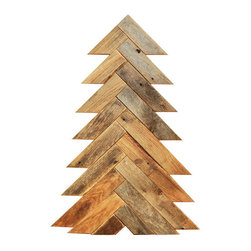 Herringbone Barn Wood Christmas Tree, Large - This barn wood Christmas trees make for beautiful, rustic holiday decor. These trees look great around the traditional Christmas tree or as stand alone items.