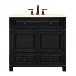 "Sunny Wood - Sunny Wood BH3621D Antique Black Barton Hill 36"" Wood Vanity Cabinet - 36"" Wood Vanity Cabinet from the Barton Hill CollectionBring a love of home into your bath with the Barton Hill Vanity Collection from Sunny Wood.  Inspired by sophisticated country antiques, this collection offers casual, stylish designs that are based on 18th and 19th century furniture.The Barton Hill Collection is designed for today s bath environment, you won t need to compromise on style, quality and function when you choose fine bath furnishings from Sunny Wood.  Ample storage, quality materials construction are complemented by a beautiful hand-rubbed finish.The Barton Hill Vanity Collection by Sunny Wood has a unique distressed finish, moderate scale, and tasteful detailing that make it the choice for your bath environment.  The collection glows with a sense of place and purpose. Ample storage, adjustable levelers, and raised field panels offer a myriad of features and benefits.  The cabinets feature tasteful crown moldings, centrally located ring-pull hardware, and a beveled glass mirror.  All components of this collection are constructed of select hardwood solids and veneers and will allow for years of carefree service.The Barton Hill Vanity Collection by Sunny Wood has been created to complement your special bath environment.Product Details:Dimensions: 36""W x 21""D x 34""HConstructed of Maple hardwoods and veneers2 Door, 2 Drawer DesignInset Drawers and DoorsDurable painted finish with accent glazeDramatic Moldings and Raised Panel DoorsAmple interior storageBrass decorative hardwareCrated and shipped assembledBarton Hill vanities: 30"" (BH3021D), 36"" (this model), 48"" (BH4821D)Finish Distressing Technique Applied to Give Character and Create a ""Living Finish"" Appearance"