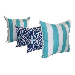 Land of Pillows - Vertical Stripe Ocean Aqua and Damask Marine Navy Outdoor Throw Pillow - 4 Pack, - Fabric Designer - Robert Allen