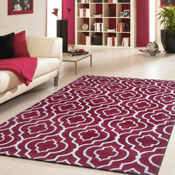 ~5' x 7' ft. Contemporary Hand-tufted Burgundy Area Rug - This Rug Measures Approximate Size(Width X Length):~5 X 7' ft. (152 cm x 214 cm) / No Assembly Required