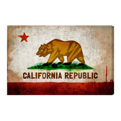 "The Oliver Gal Artist Co. - 'California Republic' Fine Art Canvas 36"" x 24"" - Golden State lovers unite! This fine art replica of the California state flag is perfect for anyone who lives in the state or just dreams about the home of palm trees and brown bears. Choose from two sizes and find the perfect wall to display your state pride."