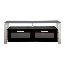 Plateau Decor 50 Inch TV Stand in Black Glass and Silver - The Plateau Decor 50 Inch TV Stand in Black Glass and Silver uses a shiny silver frame to perk up the stand's sophisticated black wood and glass construction. This handy stand will organize all your audio/visual equipment for a sleek, uncluttered look in your living room. The base cabinet is made of black wood veneers and offers two compartments for your components, game controllers, or DVDs. Each front door opens on precision hinges and features a frosted glass front panel that subtly disguises the contents.Your up to 56 inch flat panel TV will be beautifully showcased on the spacious top shelf, which is made of 0.5 inch thick black safety glass with smooth, polished edges. Silver welded heavy gauge steel tubes make up the frame and impart strength, stability, and industrial style. The back panel is ventilated and features cord management openings for your convenience. The wood cabinet arrives to you already built, so the rest of the assembly process is quick and painless.About Plateau CorporationPlateau Corporation utilizes the finest materials to provide you with state of the art audio and video home theater furniture systems. Entertainment centers created by Plateau Corporation are a fusion of innovative engineering and contemporary design. Their product list includes entertainment centers, media storage, TV armoires, and TV stands that are all are easy to assemble, incredibly durable, and specially made to highlight your audio/video system. Their unique entertainment centers can grow as your system grows.