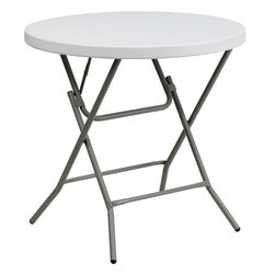 Flash Furniture - Flash Furniture 32 Inch Round Granite White Plastic Folding Table - This unique commercial grade table can be used in banquet halls, cafeterias, or in the home. This table is a great solution for temporary seating for gatherings. Flash Furniture's 32'' Round Folding Table Features a durable stain resistant blow molded top and sturdy frame. The blow molded top requires low maintenance and cleans easily. The table's legs lock in place in a SNAP with the leg locking system for easy set-ups. [DAD-YCZ-80R-GW-GG]