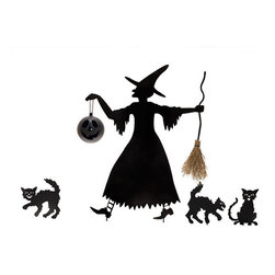 Silhouette Witch and Cat Entourage - Hang a light, a trick-or-treat bag or your own surprise from the hook hidden behind her outstretched hand.