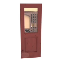 "CellarSelect™ Wine Cellar Door: Chardonnay Half Lite (Cherry Stain with Lacquer) - This Knotty Alder 30"" x 80"" door is our best selling style. Ships to you pre-hung and ready to install. Made with engineered stiles using solid butcher block type lumber cores with 1/8"" thick solid Alder veneers. High R value maes this door ideal for insulated wine cellars. Available in spare top, eyebrow arch or full-radius arch."