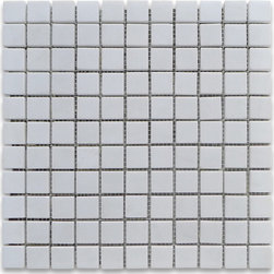 """Stone Center Corp - Thassos White Marble Square Mosaic Tile 1x1 Polished - Thassos White Marble 1""""x1"""" square pieces mounted on 12x12"""" sturdy mesh tile sheet"""